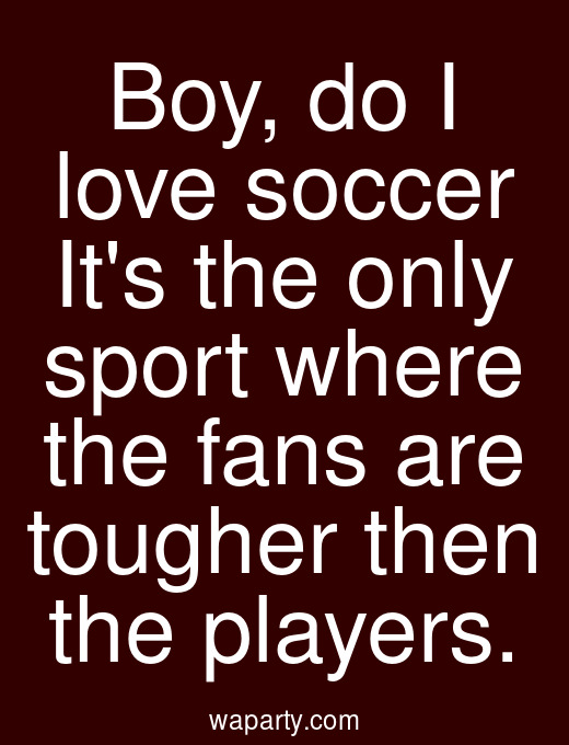 Boy, do I love soccer Its the only sport where the fans are tougher then the players.