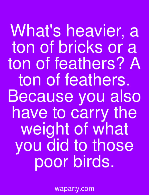 Whats heavier, a ton of bricks or a ton of feathers? A ton of feathers. Because you also have to carry the weight of what you did to those poor birds.