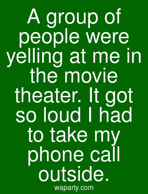A group of people were yelling at me in the movie theater. It got so loud I had to take my phone call outside.