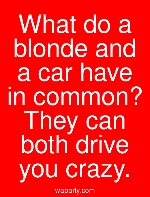 What do a blonde and a car have in common? They can both drive you crazy.