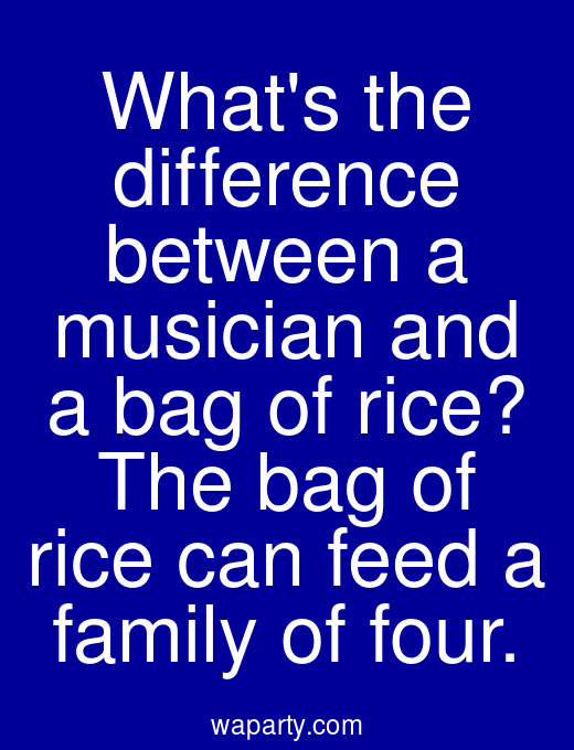 Whats the difference between a musician and a bag of rice? The bag of rice can feed a family of four.