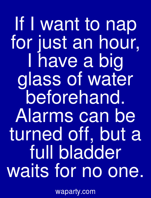 If I want to nap for just an hour, I have a big glass of water beforehand. Alarms can be turned off, but a full bladder waits for no one.