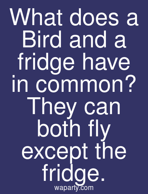 What does a Bird and a fridge have in common? They can both fly except the fridge.