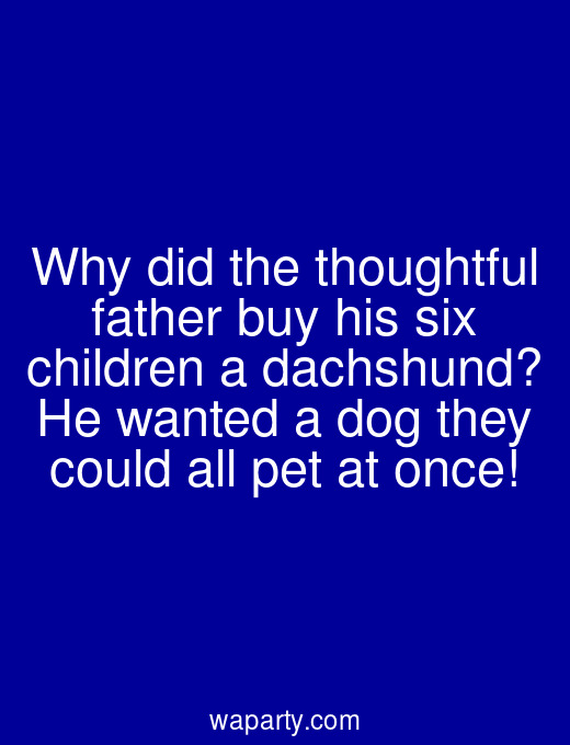 Why did the thoughtful father buy his six children a dachshund? He wanted a dog they could all pet at once!