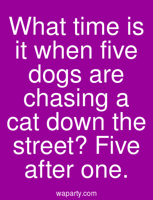 What time is it when five dogs are chasing a cat down the street? Five after one.