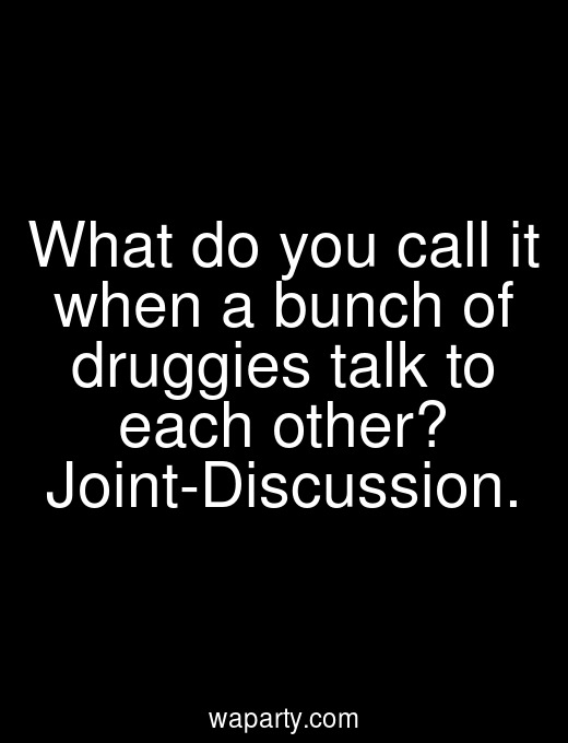 What do you call it when a bunch of druggies talk to each other? Joint-Discussion.