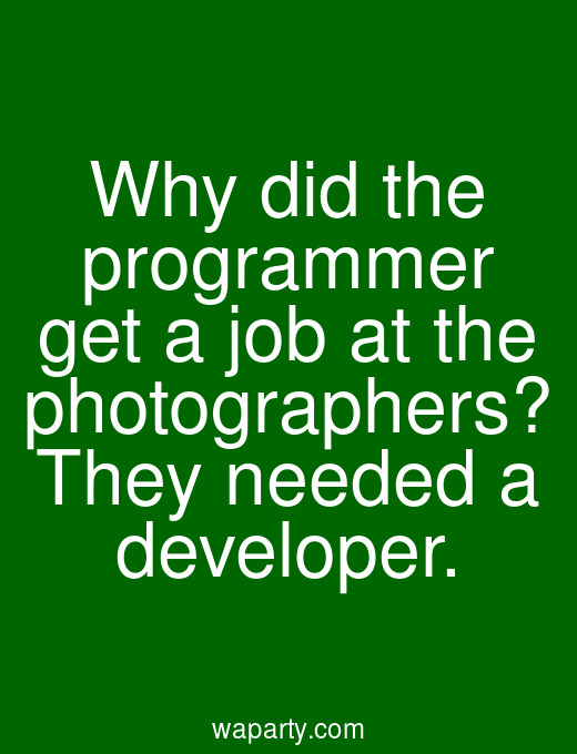 Why did the programmer get a job at the photographers? They needed a developer.
