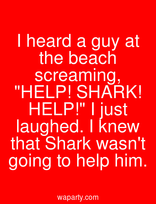 I heard a guy at the beach screaming, HELP! SHARK! HELP! I just laughed. I knew that Shark wasnt going to help him.