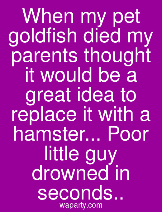 When my pet goldfish died my parents thought it would be a great idea to replace it with a hamster... Poor little guy drowned in seconds..