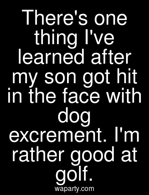 Theres one thing Ive learned after my son got hit in the face with dog excrement. Im rather good at golf.