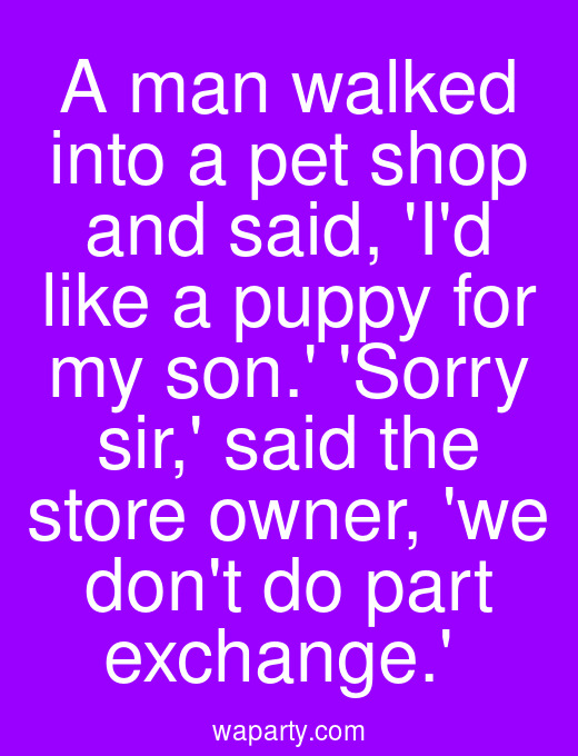 A man walked into a pet shop and said, Id like a puppy for my son. Sorry sir, said the store owner, we dont do part exchange.