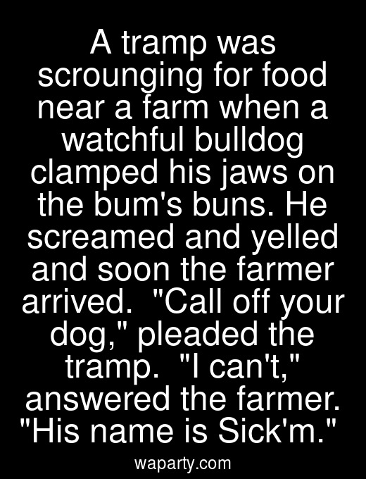 A tramp was scrounging for food near a farm when a watchful bulldog clamped his jaws on the bums buns. He screamed and yelled and soon the farmer arrived.  Call off your dog, pleaded the tramp.  I cant, answered the farmer. His name is Sickm.