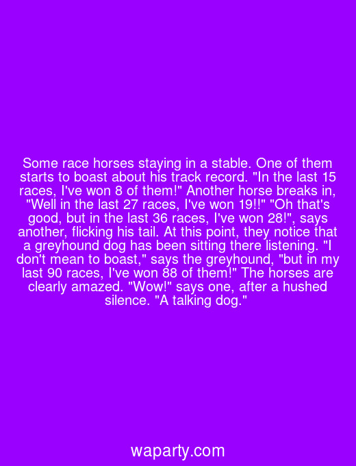 Some race horses staying in a stable. One of them starts to boast about his track record. In the last 15 races, Ive won 8 of them! Another horse breaks in, Well in the last 27 races, Ive won 19!! Oh thats good, but in the last 36 races, Ive won 28!, says another, flicking his tail. At this point, they notice that a greyhound dog has been sitting there listening. I dont mean to boast, says the greyhound, but in my last 90 races, Ive won 88 of them! The horses are clearly amazed. Wow! says one, after a hushed silence. A talking dog.
