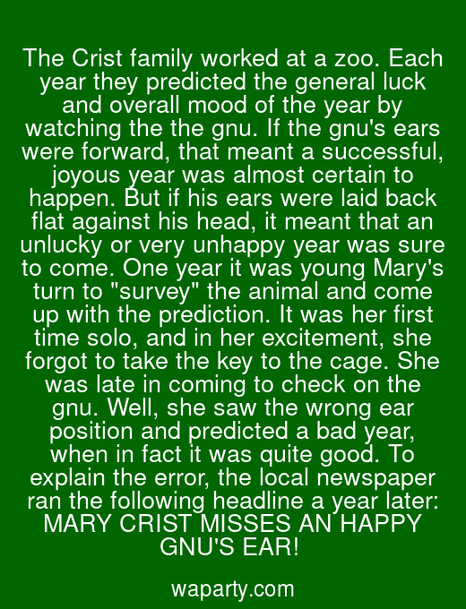 The Crist family worked at a zoo. Each year they predicted the general luck and overall mood of the year by watching the the gnu. If the gnus ears were forward, that meant a successful, joyous year was almost certain to happen. But if his ears were laid back flat against his head, it meant that an unlucky or very unhappy year was sure to come. One year it was young Marys turn to survey the animal and come up with the prediction. It was her first time solo, and in her excitement, she forgot to take the key to the cage. She was late in coming to check on the gnu. Well, she saw the wrong ear position and predicted a bad year, when in fact it was quite good. To explain the error, the local newspaper ran the following headline a year later: MARY CRIST MISSES AN HAPPY GNUS EAR!