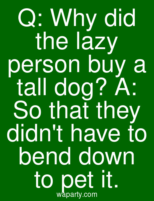 Q: Why did the lazy person buy a tall dog? A: So that they didnt have to bend down to pet it.