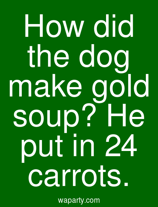 How did the dog make gold soup? He put in 24 carrots.