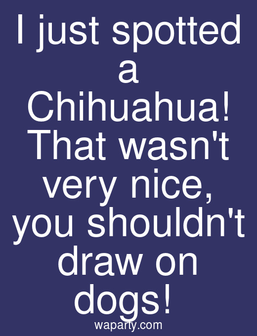 I just spotted a Chihuahua! That wasnt very nice, you shouldnt draw on dogs!