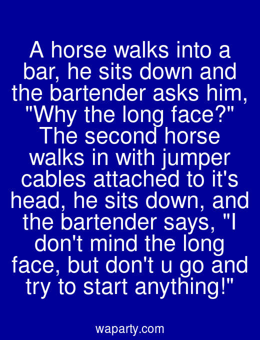 A horse walks into a bar, he sits down and the bartender asks him, Why the long face? The second horse walks in with jumper cables attached to its head, he sits down, and the bartender says, I dont mind the long face, but dont u go and try to start anything!