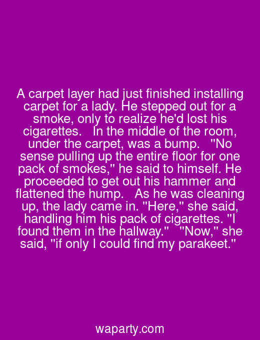 A carpet layer had just finished installing carpet for a lady. He stepped out for a smoke, only to realize hed lost his cigarettes.   In the middle of the room, under the carpet, was a bump.   No sense pulling up the entire floor for one pack of smokes, he said to himself. He proceeded to get out his hammer and flattened the hump.   As he was cleaning up, the lady came in. Here, she said, handling him his pack of cigarettes. I found them in the hallway.  Now, she said, if only I could find my parakeet.