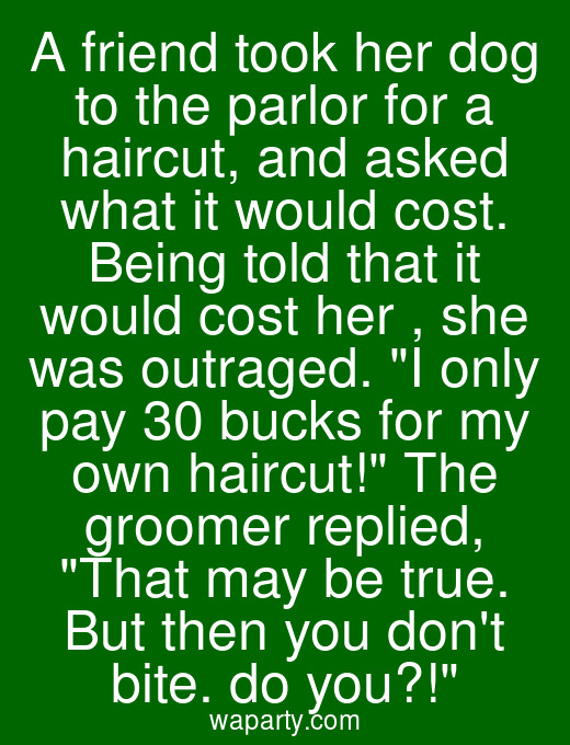 A friend took her dog to the parlor for a haircut, and asked what it would cost. Being told that it would cost her $50, she was outraged. I only pay 30 bucks for my own haircut! The groomer replied, That may be true. But then you dont bite. do you?!