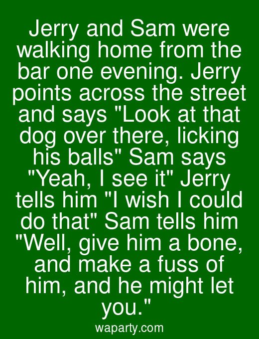 Jerry and Sam were walking home from the bar one evening. Jerry points across the street and says Look at that dog over there, licking his balls Sam says Yeah, I see it Jerry tells him I wish I could do that Sam tells him Well, give him a bone, and make a fuss of him, and he might let you.