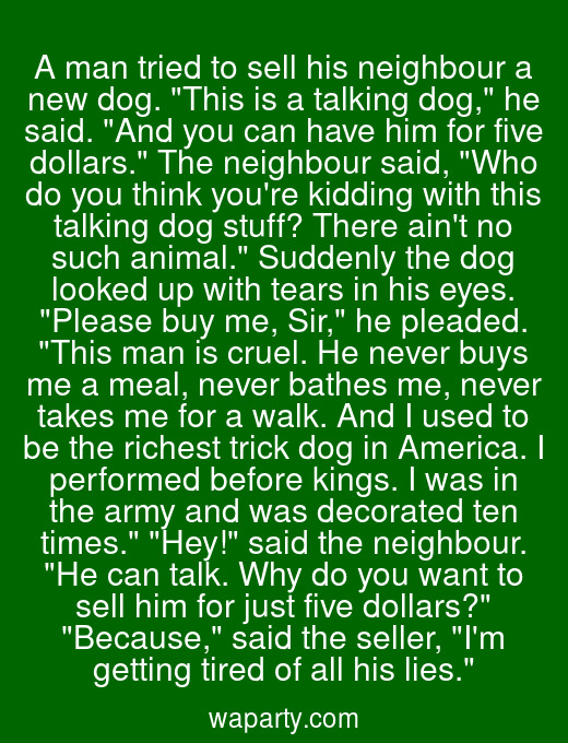 A man tried to sell his neighbour a new dog. This is a talking dog, he said. And you can have him for five dollars. The neighbour said, Who do you think youre kidding with this talking dog stuff? There aint no such animal. Suddenly the dog looked up with tears in his eyes. Please buy me, Sir, he pleaded. This man is cruel. He never buys me a meal, never bathes me, never takes me for a walk. And I used to be the richest trick dog in America. I performed before kings. I was in the army and was decorated ten times. Hey! said the neighbour. He can talk. Why do you want to sell him for just five dollars? Because, said the seller, Im getting tired of all his lies.