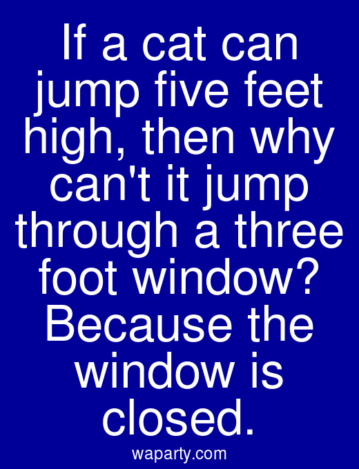 If a cat can jump five feet high, then why cant it jump through a three foot window? Because the window is closed.