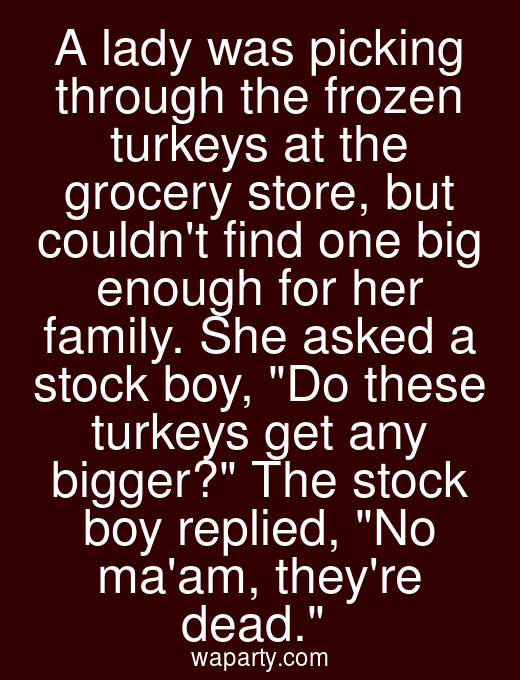 A lady was picking through the frozen turkeys at the grocery store, but couldnt find one big enough for her family. She asked a stock boy, Do these turkeys get any bigger? The stock boy replied, No maam, theyre dead.
