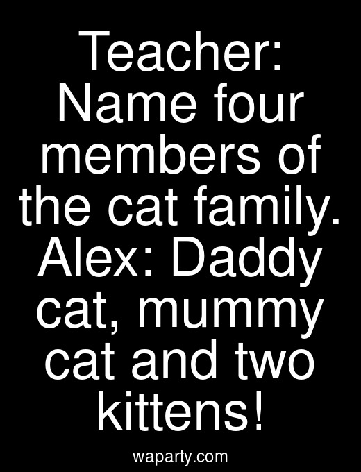 Teacher: Name four members of the cat family. Alex: Daddy cat, mummy cat and two kittens!