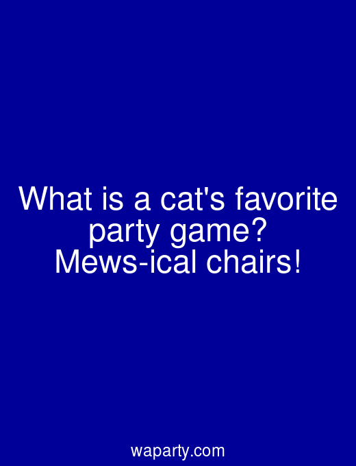What is a cats favorite party game? Mews-ical chairs!
