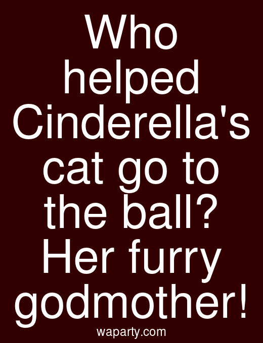 Who helped Cinderellas cat go to the ball? Her furry godmother!