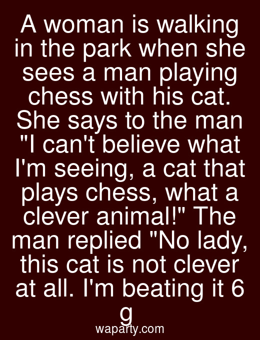 A woman is walking in the park when she sees a man playing chess with his cat. She says to the man I cant believe what Im seeing, a cat that plays chess, what a clever animal! The man replied No lady, this cat is not clever at all. Im beating it 6 g