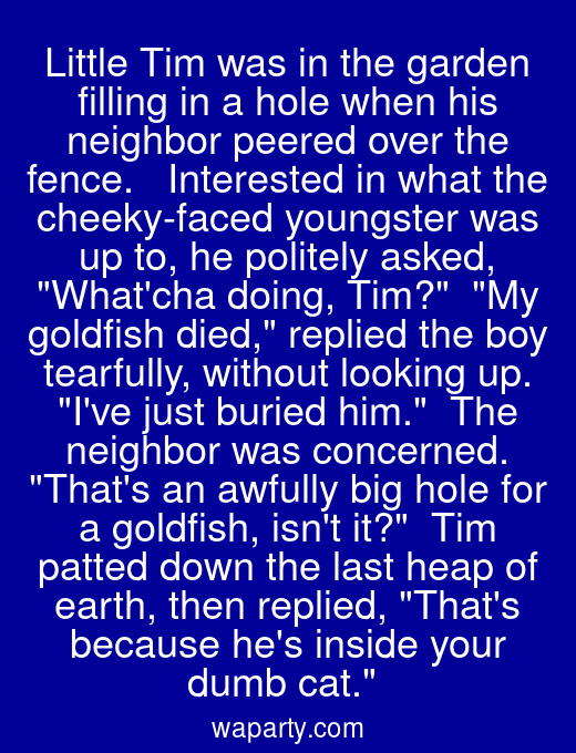 Little Tim was in the garden filling in a hole when his neighbor peered over the fence.   Interested in what the cheeky-faced youngster was up to, he politely asked, Whatcha doing, Tim?  My goldfish died, replied the boy tearfully, without looking up. Ive just buried him.  The neighbor was concerned. Thats an awfully big hole for a goldfish, isnt it?  Tim patted down the last heap of earth, then replied, Thats because hes inside your dumb cat.