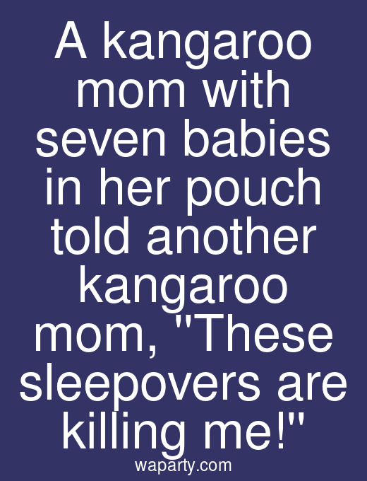A kangaroo mom with seven babies in her pouch told another kangaroo mom, These sleepovers are killing me!