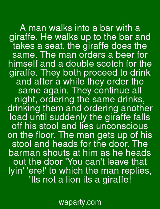 A man walks into a bar with a giraffe. He walks up to the bar and takes a seat, the giraffe does the same. The man orders a beer for himself and a double scotch for the giraffe. They both proceed to drink and after a while they order the same again. They continue all night, ordering the same drinks, drinking them and ordering another load until suddenly the giraffe falls off his stool and lies unconscious on the floor. The man gets up of his stool and heads for the door. The barman shouts at him as he heads out the door You cant leave that lyin ere! to which the man replies, Its not a lion its a giraffe!