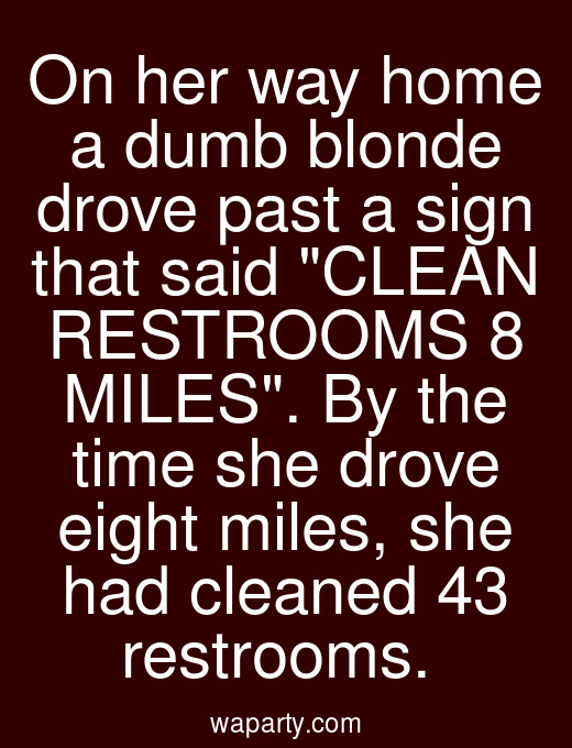 On her way home a dumb blonde drove past a sign that said CLEAN RESTROOMS 8 MILES. By the time she drove eight miles, she had cleaned 43 restrooms.