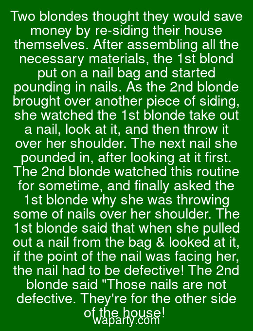 Two blondes thought they would save money by re-siding their house themselves. After assembling all the necessary materials, the 1st blond put on a nail bag and started pounding in nails. As the 2nd blonde brought over another piece of siding, she watched the 1st blonde take out a nail, look at it, and then throw it over her shoulder. The next nail she pounded in, after looking at it first. The 2nd blonde watched this routine for sometime, and finally asked the 1st blonde why she was throwing some of nails over her shoulder. The 1st blonde said that when she pulled out a nail from the bag & looked at it, if the point of the nail was facing her, the nail had to be defective! The 2nd blonde said Those nails are not defective. Theyre for the other side of the house!