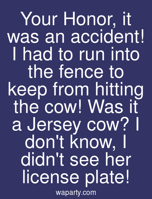 Your Honor, it was an accident! I had to run into the fence to keep from hitting the cow! Was it a Jersey cow? I dont know, I didnt see her license plate!
