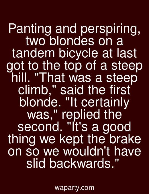 Panting and perspiring, two blondes on a tandem bicycle at last got to the top of a steep hill. That was a steep climb, said the first blonde. It certainly was, replied the second. Its a good thing we kept the brake on so we wouldnt have slid backwards.