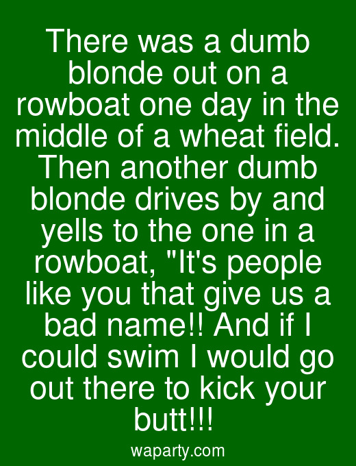 There was a dumb blonde out on a rowboat one day in the middle of a wheat field. Then another dumb blonde drives by and yells to the one in a rowboat, Its people like you that give us a bad name!! And if I could swim I would go out there to kick your butt!!!