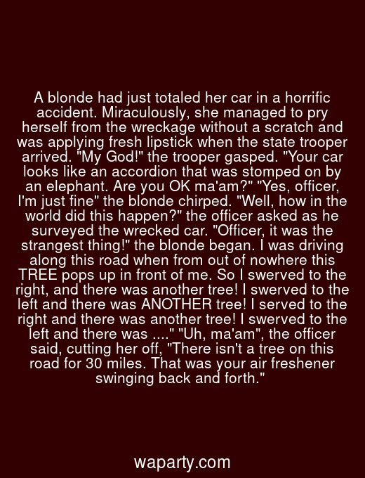 A blonde had just totaled her car in a horrific accident. Miraculously, she managed to pry herself from the wreckage without a scratch and was applying fresh lipstick when the state trooper arrived. My God! the trooper gasped. Your car looks like an accordion that was stomped on by an elephant. Are you OK maam? Yes, officer, Im just fine the blonde chirped. Well, how in the world did this happen? the officer asked as he surveyed the wrecked car. Officer, it was the strangest thing! the blonde began. I was driving along this road when from out of nowhere this TREE pops up in front of me. So I swerved to the right, and there was another tree! I swerved to the left and there was ANOTHER tree! I served to the right and there was another tree! I swerved to the left and there was .... Uh, maam, the officer said, cutting her off, There isnt a tree on this road for 30 miles. That was your air freshener swinging back and forth.