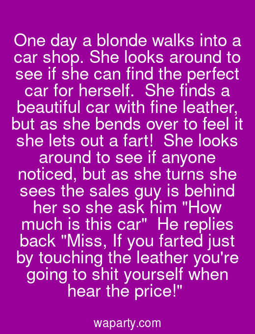 One day a blonde walks into a car shop. She looks around to see if she can find the perfect car for herself.  She finds a beautiful car with fine leather, but as she bends over to feel it she lets out a fart!  She looks around to see if anyone noticed, but as she turns she sees the sales guy is behind her so she ask him How much is this car  He replies back Miss, If you farted just by touching the leather youre going to shit yourself when hear the price!