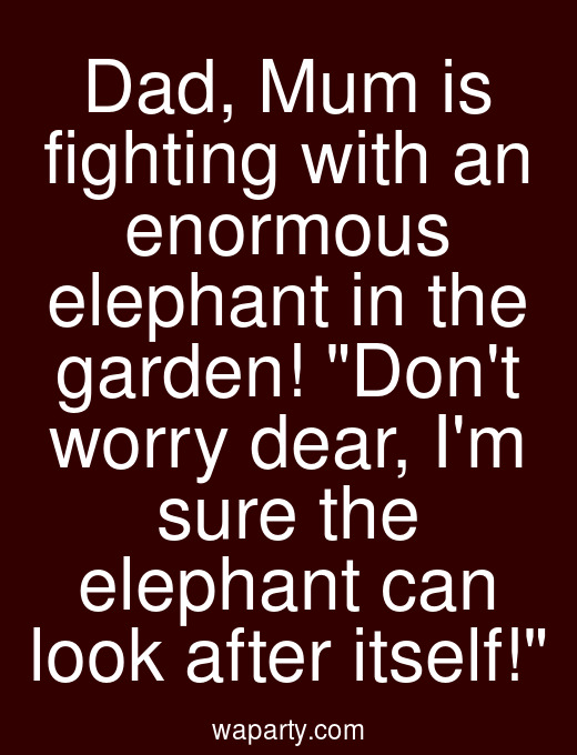 Dad, Mum is fighting with an enormous elephant in the garden! Dont worry dear, Im sure the elephant can look after itself!