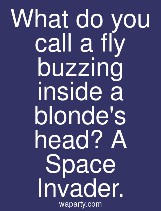 What do you call a fly buzzing inside a blondes head? A Space Invader.
