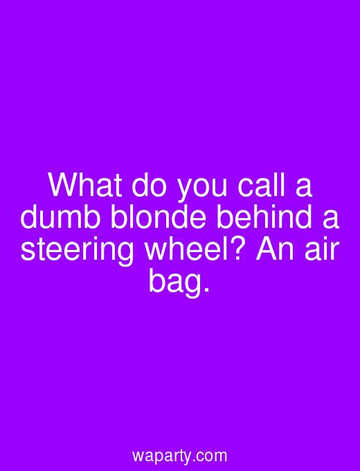 What do you call a dumb blonde behind a steering wheel? An air bag.