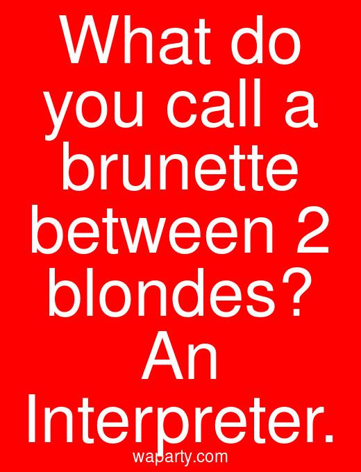 What do you call a brunette between 2 blondes? An Interpreter.