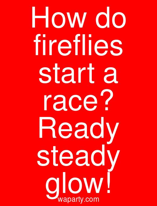 How do fireflies start a race? Ready steady glow!