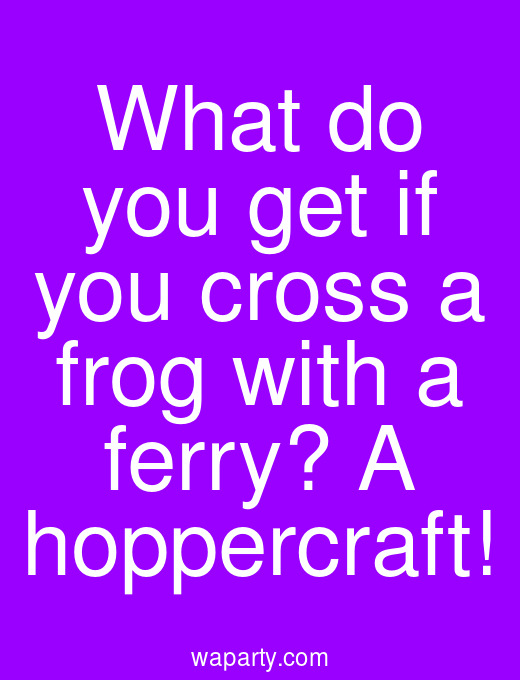 What do you get if you cross a frog with a ferry? A hoppercraft!