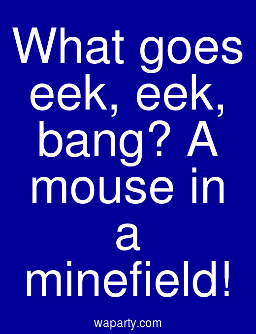 What goes eek, eek, bang? A mouse in a minefield!