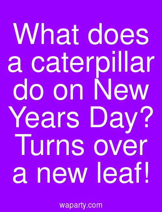 What does a caterpillar do on New Years Day? Turns over a new leaf!